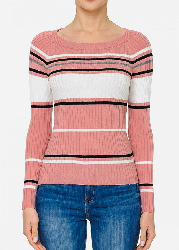 Long Sleeve Mauve Striped Sweater