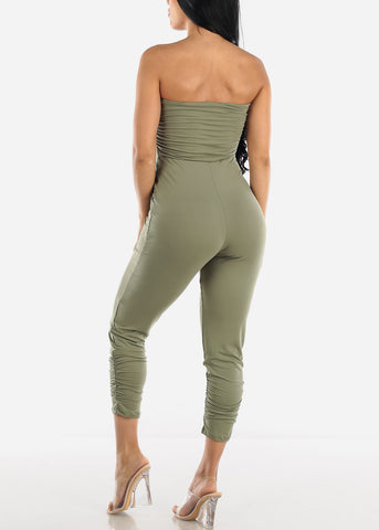Strapless Ruched Olive Jumpsuit