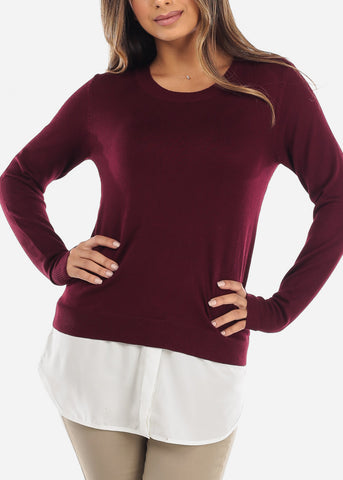 Image of Combined Burgundy Sweater Button Down Top SW1350WINE