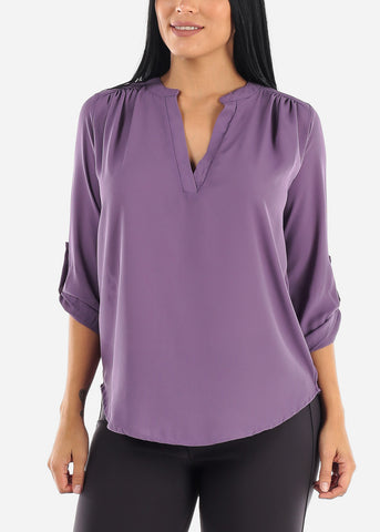 Quarter Sleeve Lilac Grey Dressy Blouse