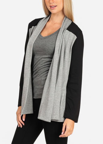 Image of Women's Junior Stylish Casual Going Out Must Have Two Tone Black And Grey Open Front Stretchy Cardigan