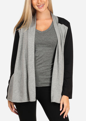 Women's Junior Stylish Casual Going Out Must Have Two Tone Black And Grey Open Front Stretchy Cardigan