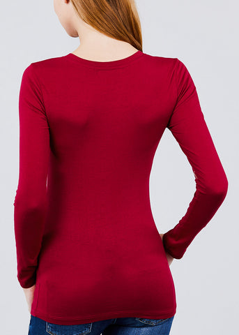 Image of V-Neck Long Sleeve Basic Top (Burgundy)