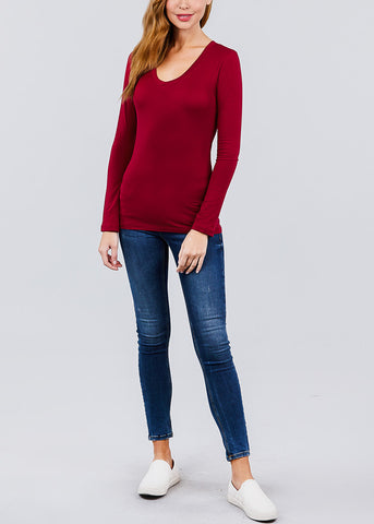 V-Neck Long Sleeve Basic Top (Burgundy)