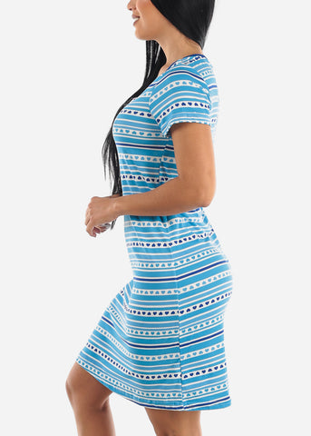 Image of Blue Heart Printed Sleepwear Dress
