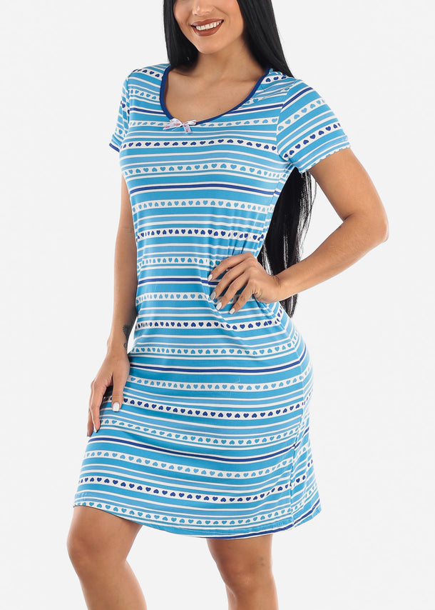 Blue Heart Printed Sleepwear Dress