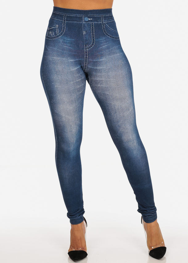 Med Wash Going Out High Rise Jean Looking Super Stretchy Jegging Leggings