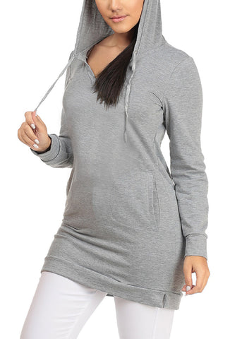Image of Cozy Warm Long Sleeve Grey Long Tunic Sweater For Women Ladies Junior