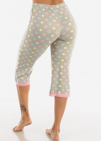 Image of Stretchy Grey Printed Pajama Pants