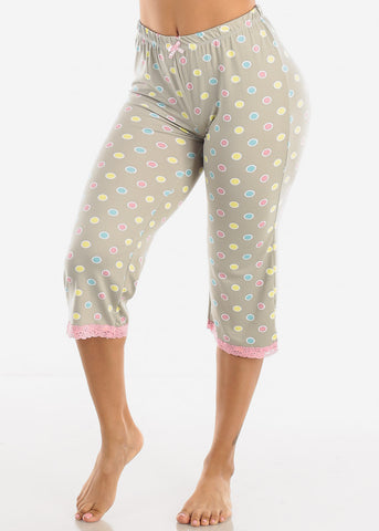 Stretchy Grey Printed Pajama Pants
