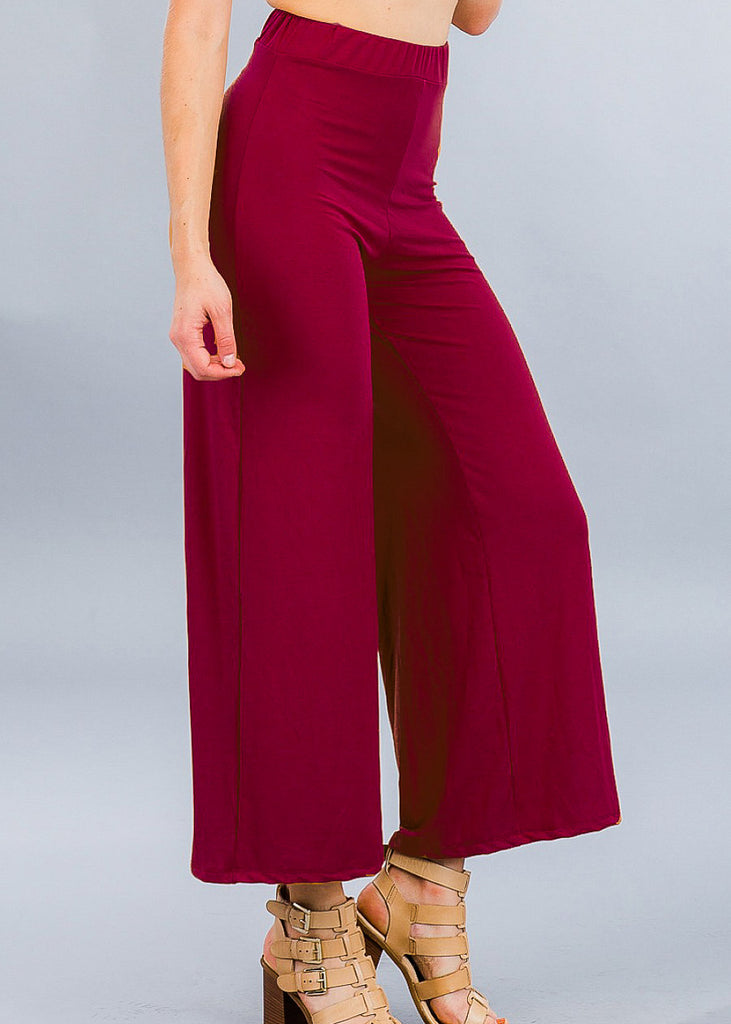 Burgundy Wide Leg Cropped Pants