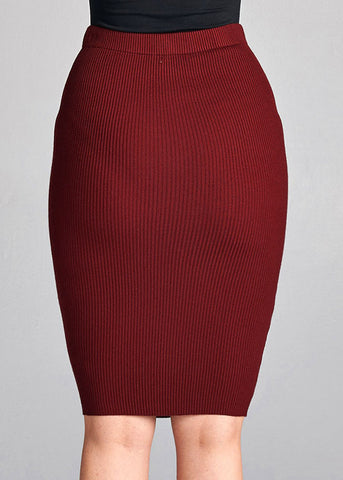 Burgundy Ribbed Bodycon Skirt