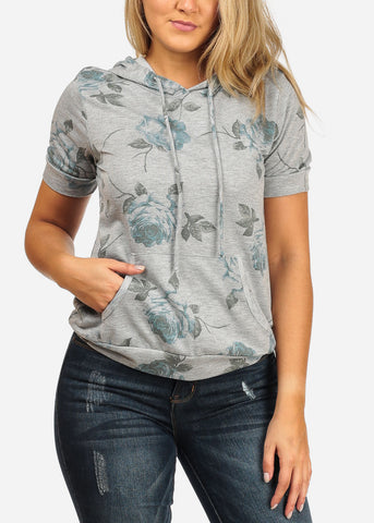 Image of Women's Junior Trendy Cute Floral Print Rose Print Short Sleeve Grey Pullover Sweater Hoody With Hood