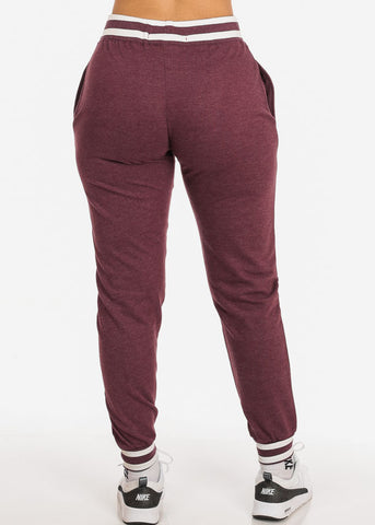 Image of Burgundy Drawstring Waist Jogger Pants