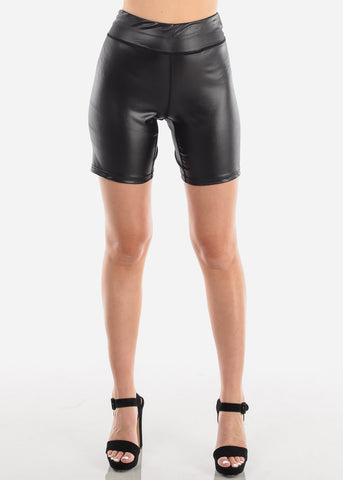 Image of Women's Junior Ladies Casual Going Out Faux Leather Solid Black Stretchy Bermuda Activewear Bermuda Shorts