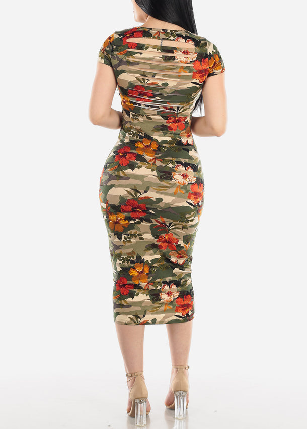 Floral Camo Bodycon Midi Dress