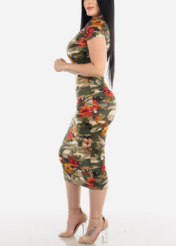 Image of Floral Camo Bodycon Midi Dress