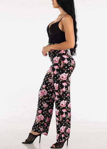 Floral & Polka Dot Black Jumpsuit