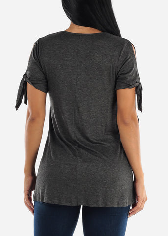 Image of Knot Tie Sleeve Charcoal Tunic Top