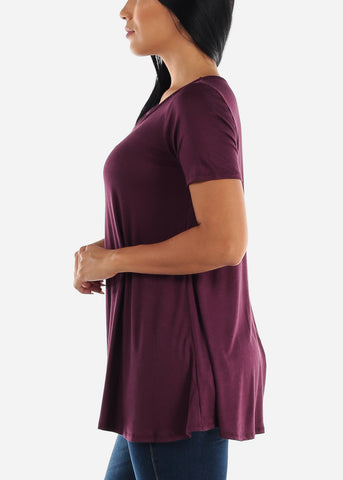 Image of Strappy Neckline Burgundy Tunic Top