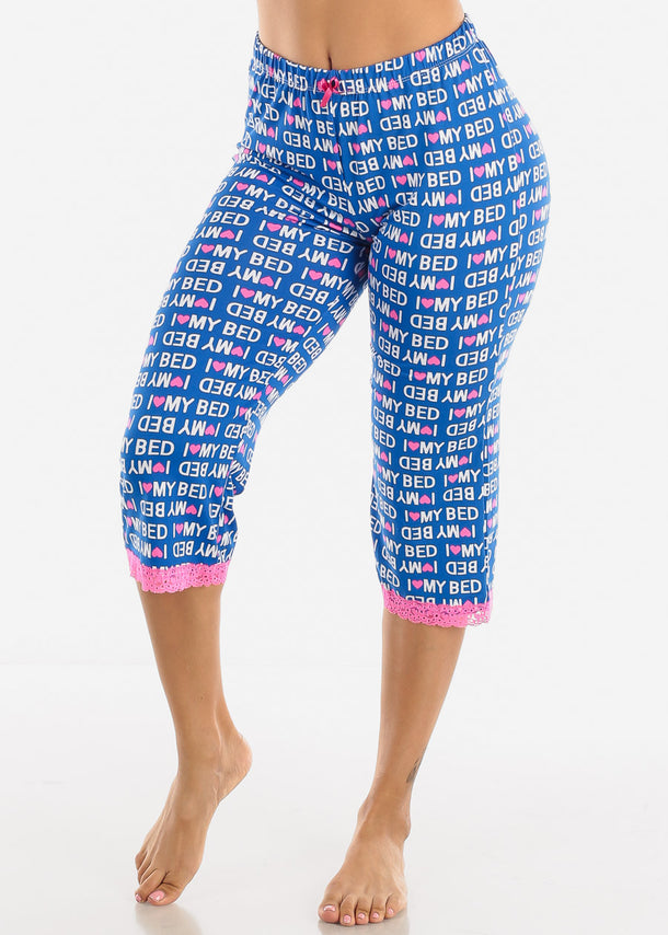 Stretchy Blue Printed Pajama Pants
