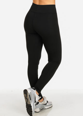 Stretch Solid Legging Pants (Black)