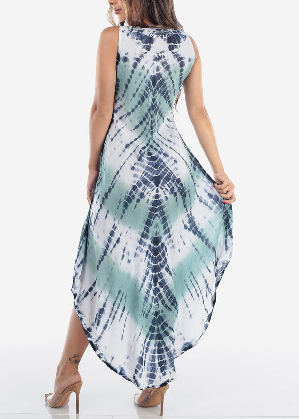 Lightweight Green Tie Dye Maxi Dress