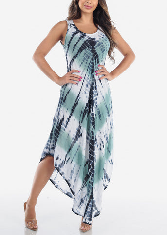 Women's Junior Ladies Summer Vacation Sleeveless Racerback Tie Dye Round Hem Green Maxi Dress
