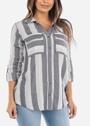 Image of White & Navy Stripe Button Down Shirt