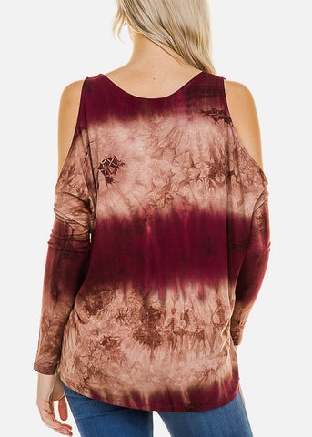 Image of Burgundy Tie Dye Cold Shoulder Top