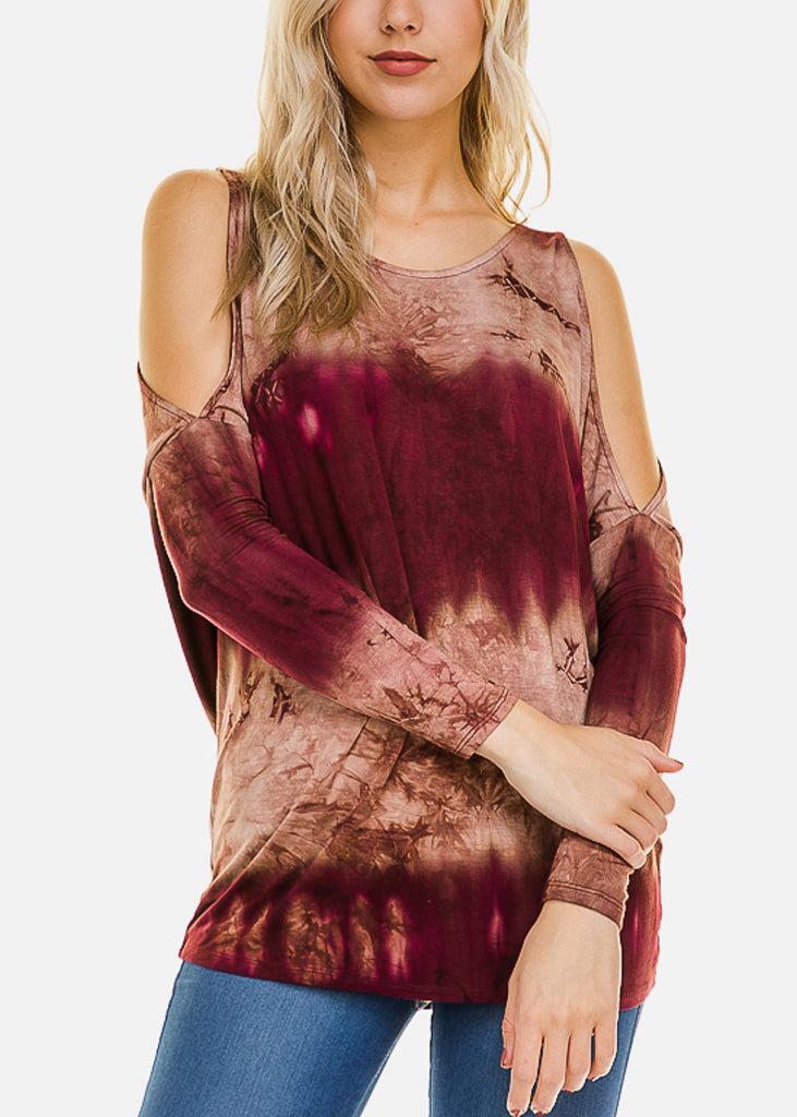 Burgundy Tie Dye Cold Shoulder Top