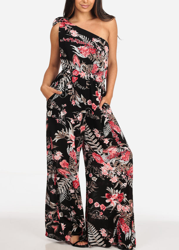 Women's Junior Ladies Stylish Beach Vacation Trip Sexy Night Out Brunch Date One Tie Shoulder Black Floral Print Wide Legged Jumper Jumpsuit