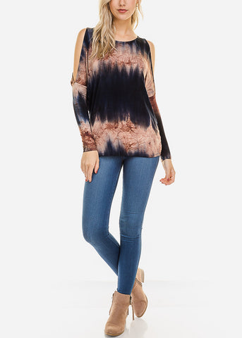 Navy Tie Dye Cold Shoulder Top