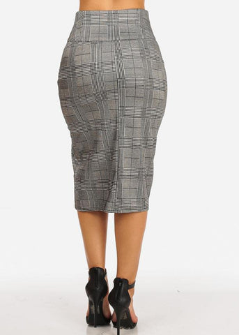 High Rise Houndstooth Print Midi Skirt