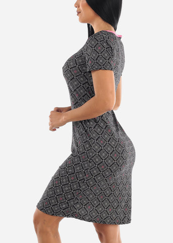 Image of Black Printed Sleepwear Dress