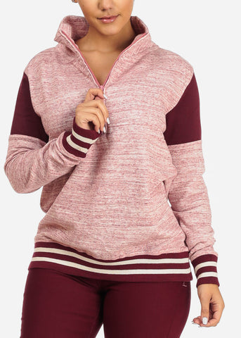 Image of Stripe Detail Heather Rose Sweater