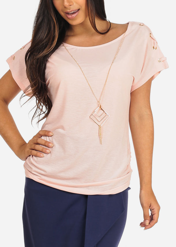 Women's Junior Ladies Stylish Going Out Casual Round Neckline lace Up Detail Sleeves Pink Dressy Blouse Top
