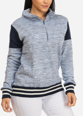 Image of Stripe Detail Heather Hoodie Sweatshirt