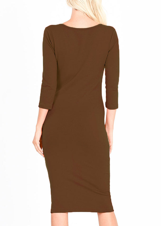 Quarter Sleeve Brown Bodycon Dress