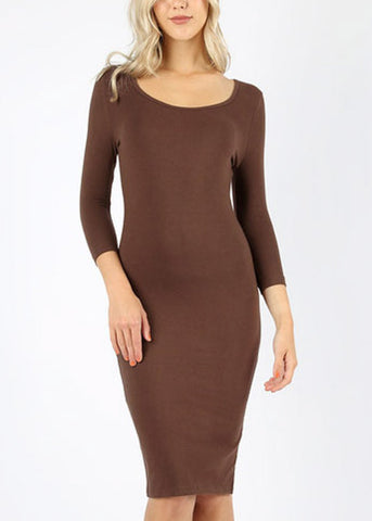 Quarter Sleeve Brown Bodycon Dress 4316PBRW
