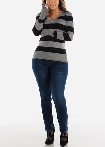 Image of Grey & Black Stripe Pullover Sweater