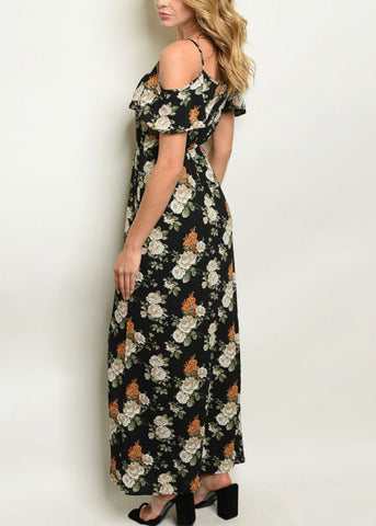 Cold Shoulder Black Floral Maxi Dress