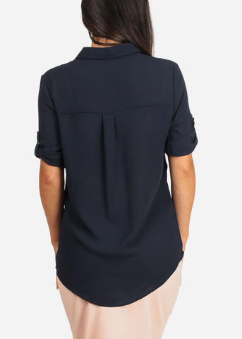 Women's Junior Ladies Stylish Lightweight Short Sleeve Chiffon Button Up Dressy Navy Blouse Top