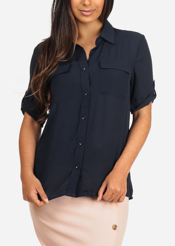 Image of Button Up Navy Blouse