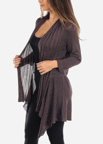Asymmetric Open Front Metallic Purple Cardigan