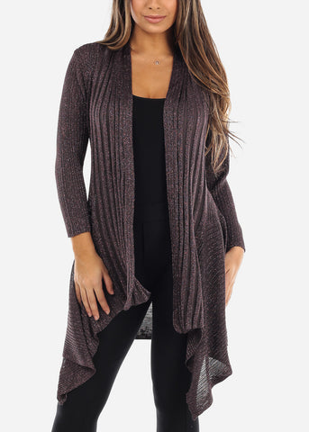 Asymmetric Metallic Purple Cardigan