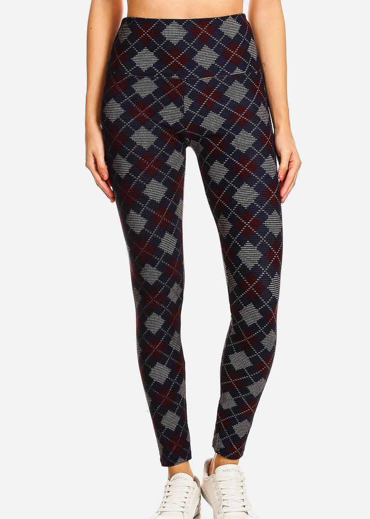 Activewear Navy & Burgundy Printed Leggings
