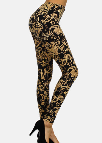 Black & Beige Floral Leggings