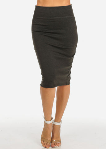 Olive High Waisted  Midi Skirt