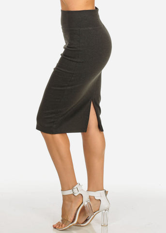Image of Olive High Waisted  Midi Skirt